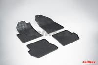 Ковры резиновые (сетка) Seintex для Ford Fusion 2002- (цвет Черный)