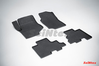 Ковры резиновые (сетка) Seintex для Chevrolet TRAIL BLAZER (GMT800) 2001- (цвет Черный)