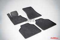 Ковры резиновые (сетка) Seintex для BMW 7 Ser E-66L 2001-2008 (цвет Черный)
