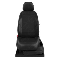 Авточехлы для Audi A1 с 2010-н.в. хэтчбек 5 дверей. Задняя спинка 40 на 60, сиденье единое, 4 подголовника  ЭК-01. Середина: экокожа чёрная с перфорацией. Боковины: чёрная экокожа.  Спинка: чёрная экокожа.