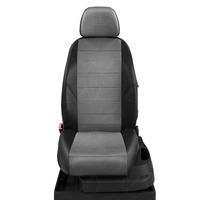 Авточехлы для Audi A1 с 2010-н.в. хэтчбек 5 дверей. Задняя спинка 40 на 60, сиденье единое, 4 подголовника  ЭК-02. Середина: экокожа тёмно-серая с перфорацией. Боковины: чёрная экокожа. Спинка: чёрная экокожа