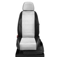 Авточехлы для Audi A1 с 2010-н.в. хэтчбек 5 дверей. Задняя спинка 40 на 60, сиденье единое, 4 подголовника  ЭК-03. Середина: экокожа белая с перфорацией. Боковины: чёрная экокожа.  Спинка: чёрная экокожа.