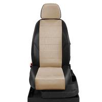 Авточехлы для Audi A1 с 2010-н.в. хэтчбек 5 дверей. Задняя спинка 40 на 60, сиденье единое, 4 подголовника  ЭК-04. Середина: экокожа бежевая с перфорацией. Боковины: чёрная экокожа.  Спинка: чёрная экокожа.