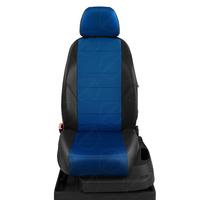 Авточехлы для Audi 100 (C 4) с 1991-1995г. седан, универсал Задние спинка 40 на 60, сиденье единое, задний подлокотник (молния), 5-подголовников ЭК-05. Середина: экокожа синяя с перфорацией. Боковины: чёрная экокожа.  Спинка: чёрная экокожа.