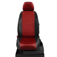 Авточехлы для Audi 100 (C 3) с 1982-1991г. седан, универсал Задние спинка и сиденье единые. Передние два подголовника, задний подлокотник (молния) ЭК-06. Середина: экокожа красная с перфорацией. Боковины: чёрная экокожа.  Спинка: чёрная экокожа.