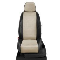 Авточехлы для Audi 100 (C 4) с 1991-1995г. седан, универсал Задние спинка 40 на 60, сиденье единое, задний подлокотник (молния), 5-подголовников ЭК-08. Середина: экокожа кремовая с перфорацией. Боковины: чёрная экокожа.  Спинка: чёрная экокожа.
