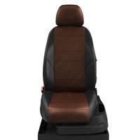 Авточехлы для Audi A1 с 2010-н.в. хэтчбек 5 дверей. Задняя спинка 40 на 60, сиденье единое, 4 подголовника  ЭК-11. Середина: экокожа шоколад с перфорацией. Боковины: чёрная экокожа.  Спинка: чёрная экокожа.