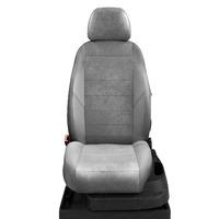 Авточехлы для Audi A1 с 2010-н.в. хэтчбек 5 дверей. Задняя спинка 40 на 60, сиденье единое, 4 подголовника  ЭК-15. Середина: серая алькантара. Боковины: светло-серая экокожа. Спинка: с-серая экокожа