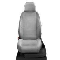 Авточехлы для Audi 80 В3 с 1986-1991г. седан. Задние спинка и сиденье единые, передние два подголовника, задние горбы , задний подлокотник (молния)  LEN-01. Середина: лён Шато-блеск. Боковины: серый лён. Спинка: пластик экокожа