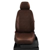 Авточехлы для Audi A1 с 2010-н.в. хэтчбек 5 дверей. Задняя спинка 40 на 60, сиденье единое, 4 подголовника  ЭК-29. Середина: экокожа шоколад с перфорацией. Боковины: шоколад экокожа. Спинка: шоколад экокожа.