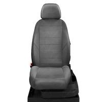 Авточехлы для Audi A3 8P с 2003-2013г. хэтчбек 3 двери.Задние спинка 40 на 60, сиденье единое, 5 подголовников, передний подлокотник, БЕЗ заднего подлокотника  ЭК-20. Середина: экокожа т-серая с перфорацией. Боковины: т-серая экокожа. Спинка: т-серая экокожа