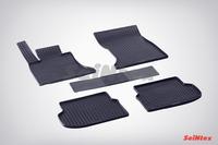 Ковры резиновые (сетка) Seintex для BMW 5 Ser F-10 2010-2013 (цвет Черный)