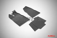 Ковры резиновые (сетка) Seintex для Ford Transit Castom 2014- (цвет Черный).