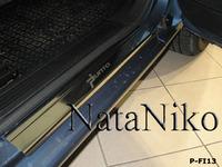 Накладки порогов Premium Natanika для Fiat Grande Punto 2005-2009 (3 двери) P-FI12 (2 шт.)