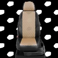 Авточехлы для Audi 80 В4 с 1991-1996г. седан Задние спинка 40 на 60, сиденье единое, 2 надкрыльника, задний подлокотник (молния), 4-подголовника  ЭК-04. Середина проивка ромб: экокожа бежевая с перфорацией. Боковины: чёрная экокожа.  Спинка: чёрная экокожа.