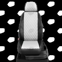 Авточехлы для Audi A3 8V с 2013-н.в. седан, хэтчбек 4-5 дверей. Задние спинка 40 на 60, сиденье единое, (так же подходит на спинку 40 на 20 на 40), 5 подголовников, передний подлокотник, БЕЗ заднего подлокотника  ЭК-03. Середина ПРОШИВКА РОМБ: экокожа белая с перфорацией. Боковины: чёрная экокожа.  Спинка: чёрная экокожа.