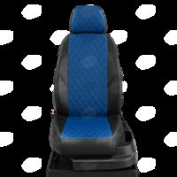 Авточехлы для Audi 80 В4 с 1991-1996г. седан Задние спинка 40 на 60, сиденье единое, 2 надкрыльника, задний подлокотник (молния), 4-подголовника  ЭК-05. Середина проивка ромб: экокожа синяя с перфорацией. Боковины: чёрная экокожа.  Спинка: чёрная экокожа.