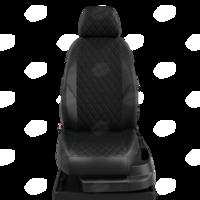 Авточехлы для Audi 80 В4 с 1991-1996г. седан Задние спинка 40 на 60, сиденье единое, 2 надкрыльника, задний подлокотник (молния), 4-подголовника  ЭК-01. Середина проивка ромб: экокожа чёрная с перфорацией. Боковины: чёрная экокожа.  Спинка: чёрная экокожа.